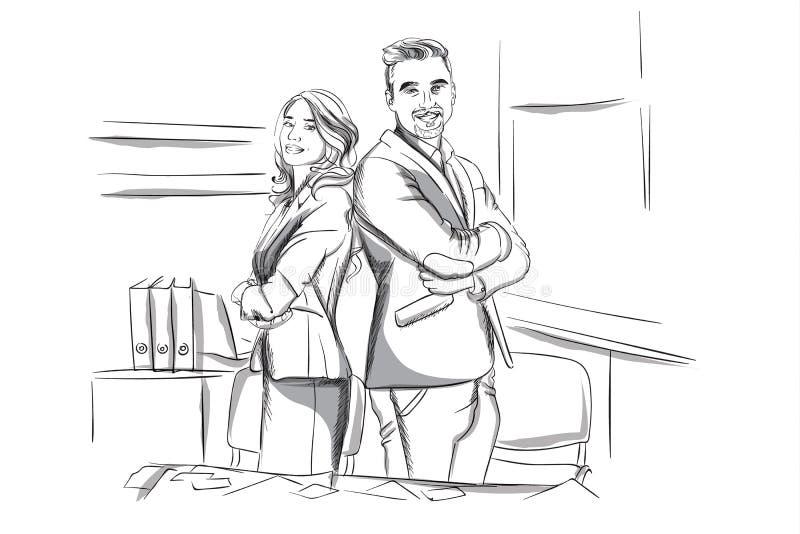 Gelukkige bedrijfsman en vrouw die dwars overhandigde Vectorschets bevinden zich Succesvolle teamarbeiders Storyboard digitaal ma royalty-vrije illustratie