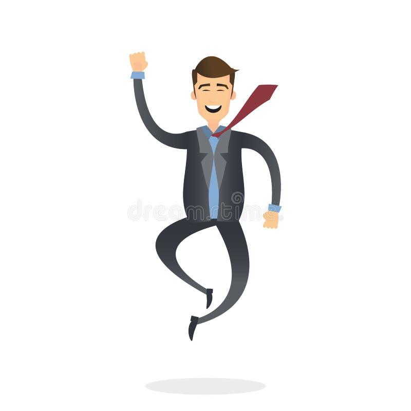 Gelukkige bedrijfsmens die in de lucht cheerfully springen stock illustratie