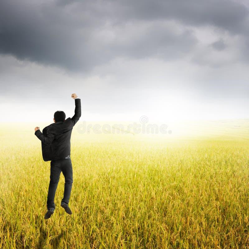 Gelukkige bedrijfsmens die in geel padieveld springen en rainclouds stock foto's