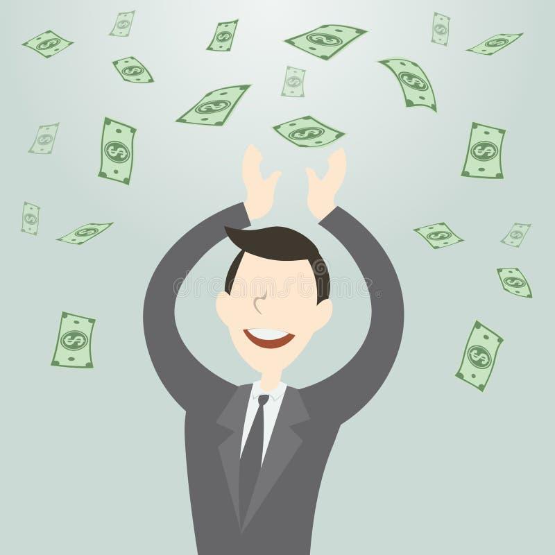 Gelukkige bedrijfsmens die heel wat geld krijgen stock illustratie