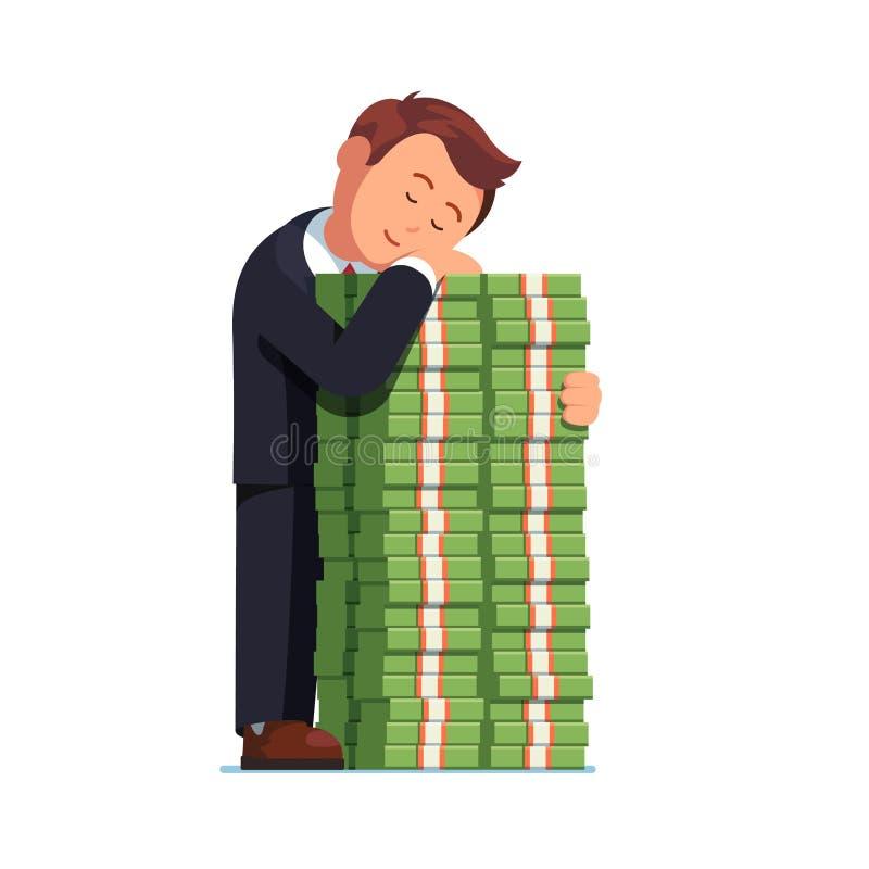 Gelukkige bedrijfsmens die stapel van contant geldgeld omhelzen royalty-vrije illustratie