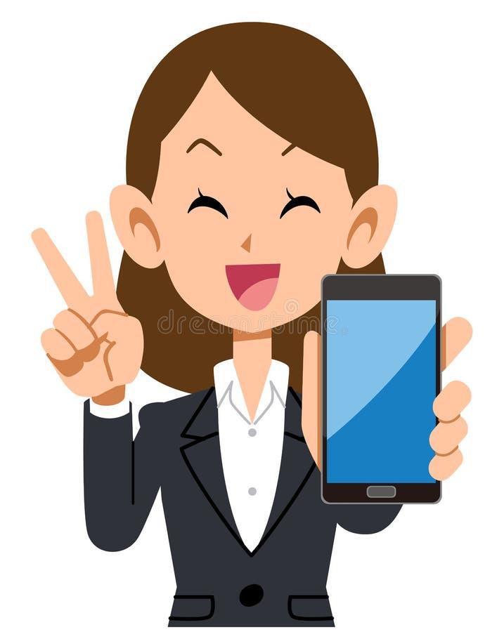 Gelukkige bedrijfsvrouw die een smartphone houden stock illustratie