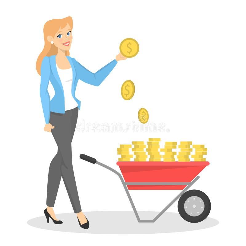 Gelukkige bedrijfsvrouw die zich met kruiwagenhoogtepunt bevinden van contant geld royalty-vrije illustratie