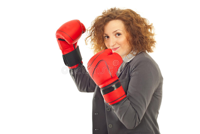 Gelukkige bedrijfsvrouw klaar voor strijd stock fotografie