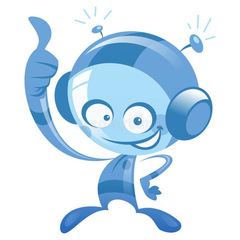 Gelukkige beeldverhaal blauwe astronaut die en duim op gebaar glimlacht maakt stock illustratie