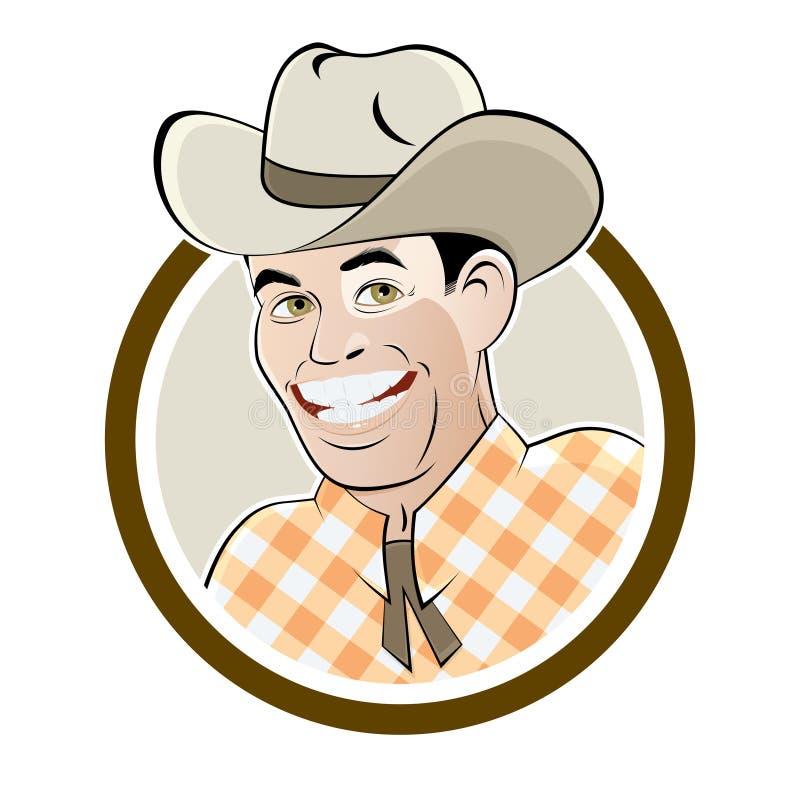 Gelukkige beeldverhaalcowboy royalty-vrije illustratie