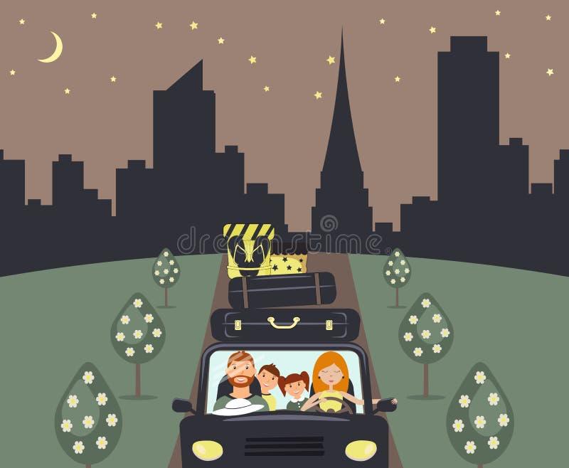 Gelukkige beeldverhaalfamilie: de jonge man, de vrouw, de zoon en de dochter gaan naar vakantie Het mamma drijft een marineauto E vector illustratie