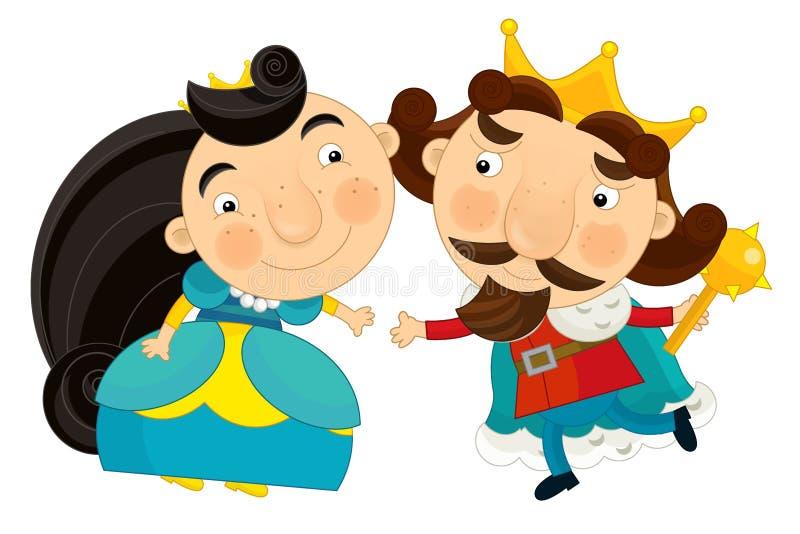 Gelukkige beeldverhaalkoning en koningin - karakter royalty-vrije illustratie