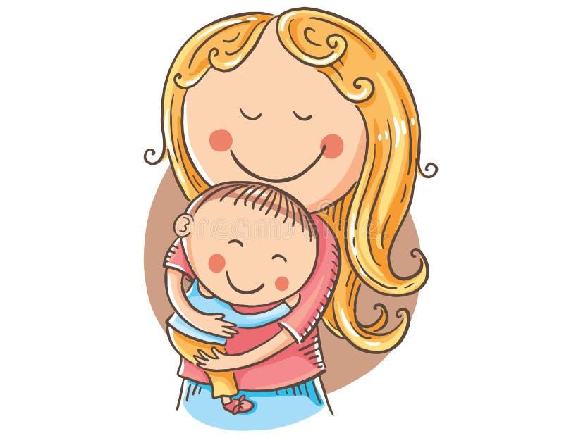 Gelukkige beeldverhaalmoeder met kinderen, vector clipart vector illustratie