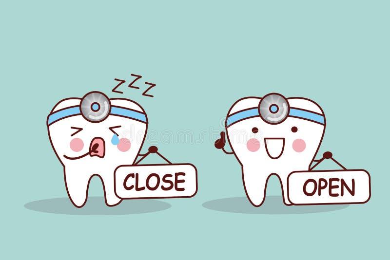 Gelukkige beeldverhaaltand en tandarts royalty-vrije illustratie