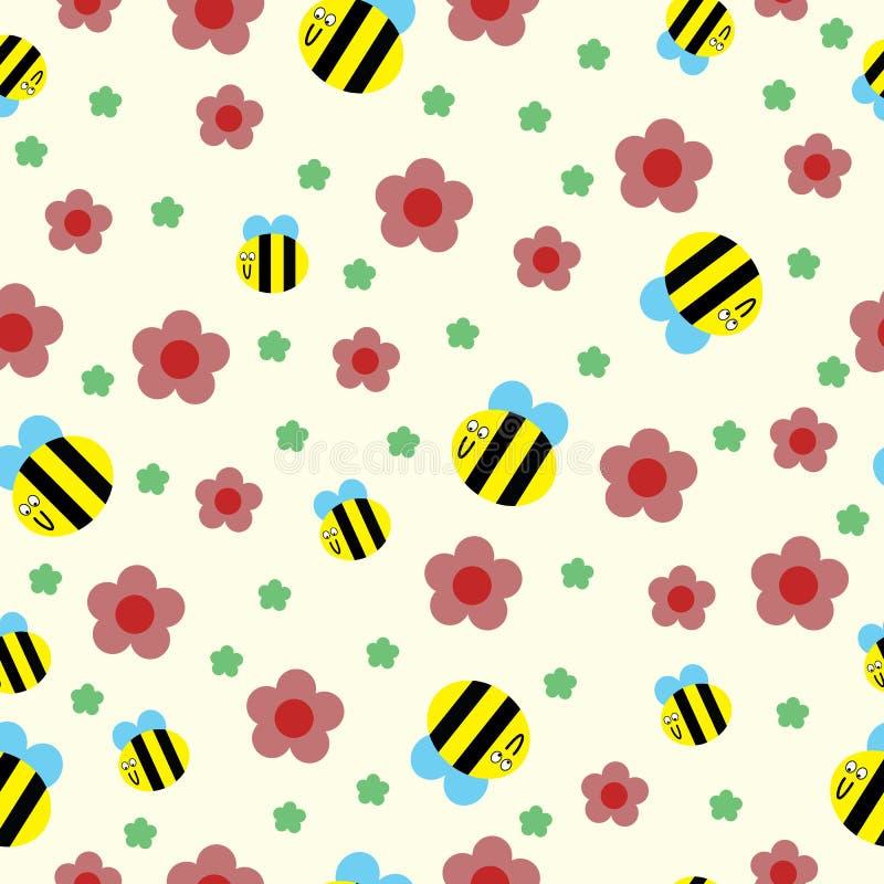 Gelukkige bij en rood bloemen naadloos patroon vector illustratie