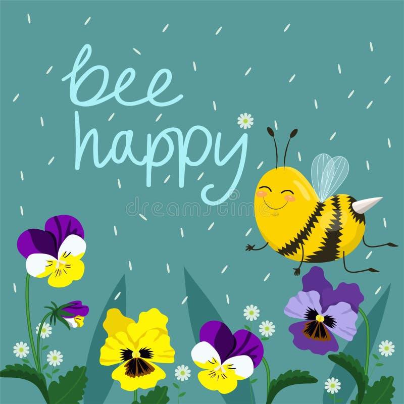 Gelukkige Bijen Vectorillustratie Hand Van letters voorzien Tekst met Bijen Vectorprentbriefkaar royalty-vrije illustratie