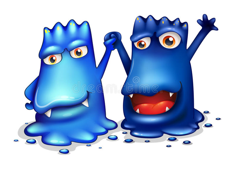 Gelukkige blauwe monsters in één team stock illustratie