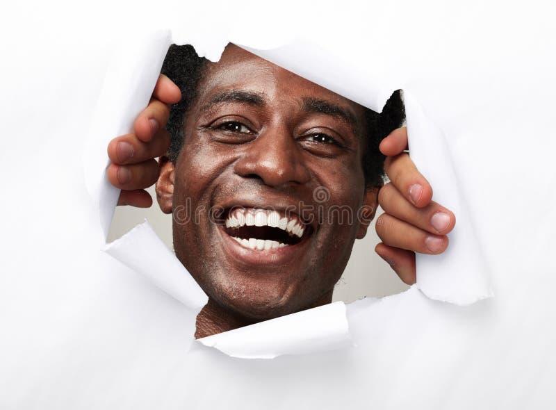 Gelukkige blije Afro-Amerikaanse mens royalty-vrije stock fotografie