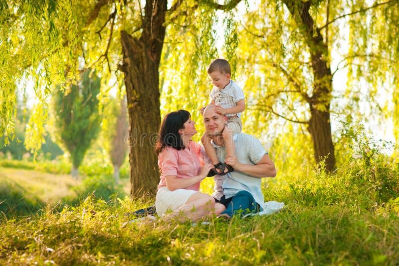 Gelukkige blije jonge familie met kind stock foto's