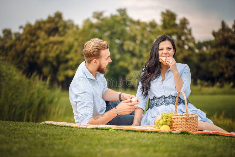 Gelukkige blije jonge familieechtgenoot en zijn zwangere vrouw die pret hebben samen in openlucht, bij picknick in de zomerpark stock afbeeldingen