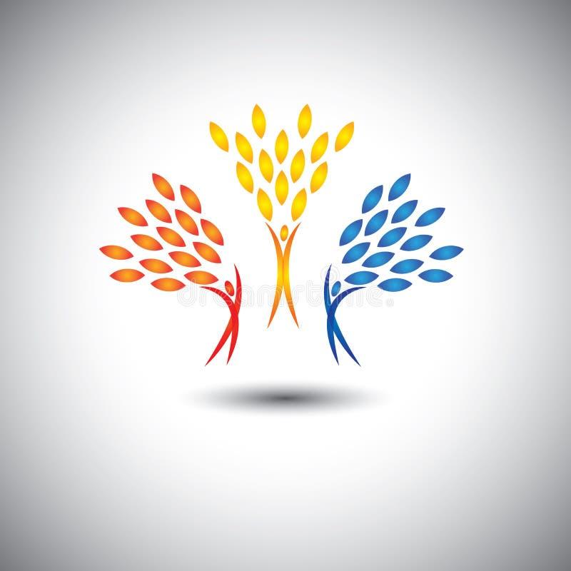 Gelukkige, blije, opgewekte mensen als bomen van het leven - ecoconcept vec vector illustratie