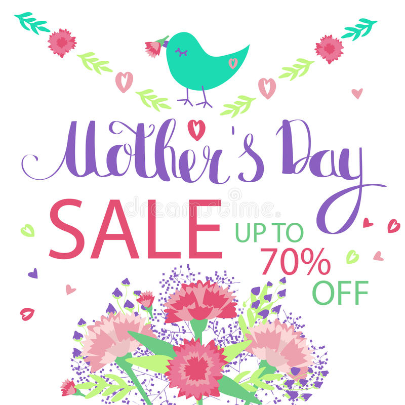 Gelukkige bloemen de groetkaart van de Moeder` s Dag stock fotografie