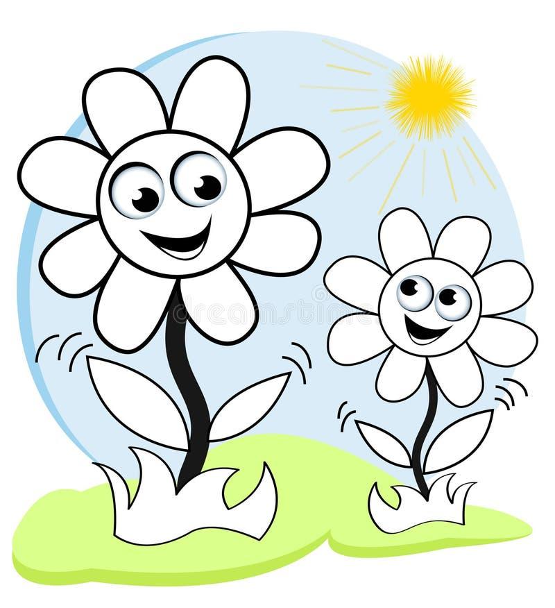 Gelukkige bloemen in de zon vector illustratie