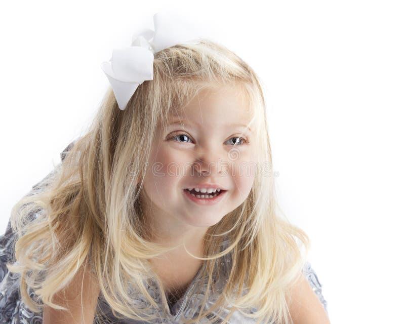 Gelukkige Blonde Meisjes Witte Achtergrond royalty-vrije stock foto