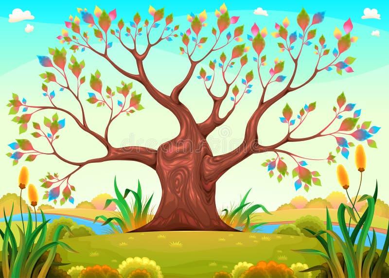 Gelukkige boom in het platteland royalty-vrije illustratie