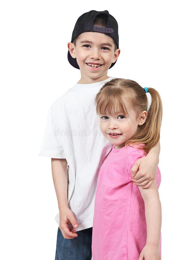 Gelukkige broer en zuster royalty-vrije stock afbeeldingen