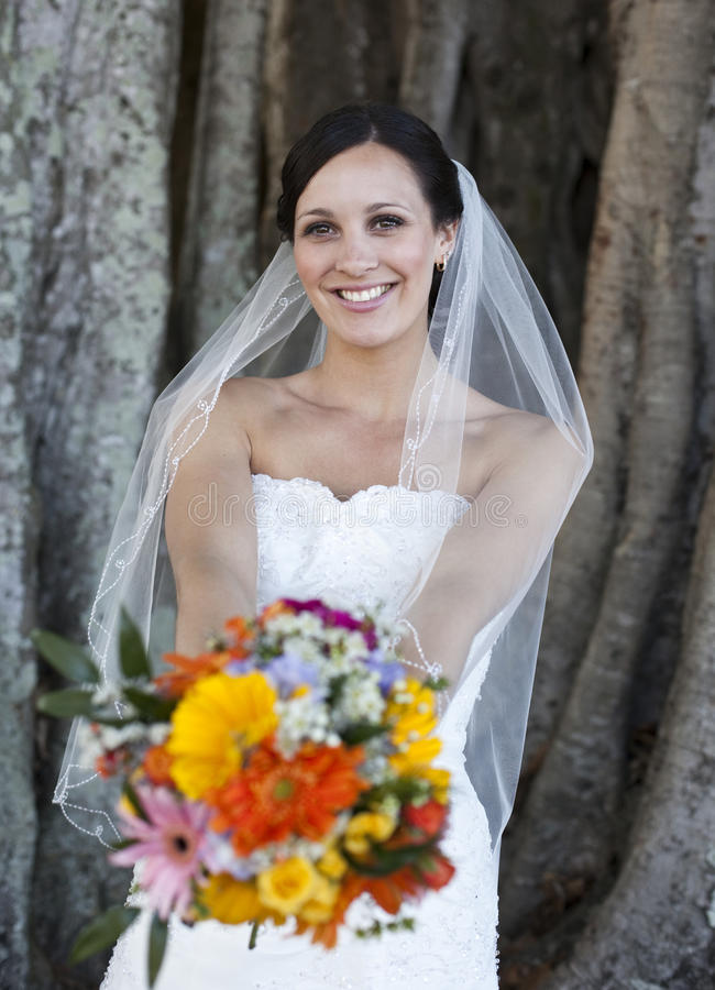 Gelukkige bruid stock foto