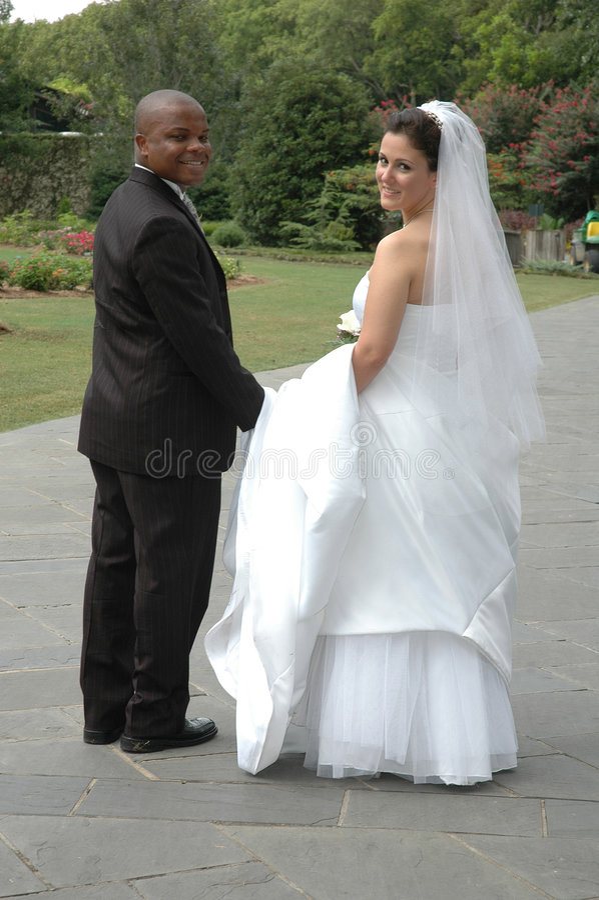 Gelukkige Bruid en Bruidegom stock afbeeldingen