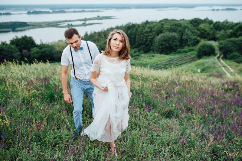 Gelukkige Bruid en bruidegom die op het groene gras lopen royalty-vrije stock foto's