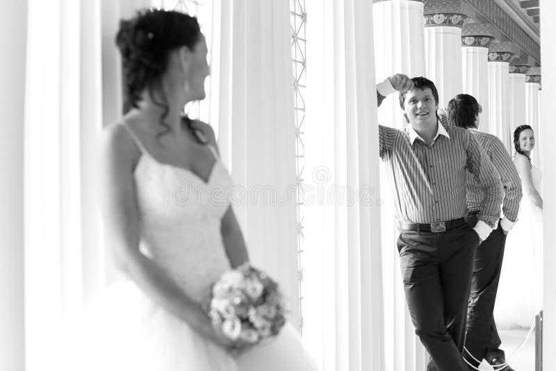 Gelukkige bruidegom royalty-vrije stock fotografie