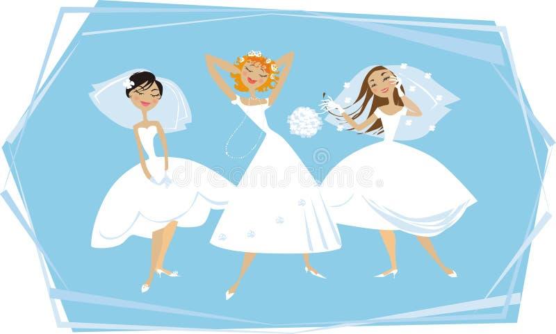 Gelukkige bruiden royalty-vrije illustratie