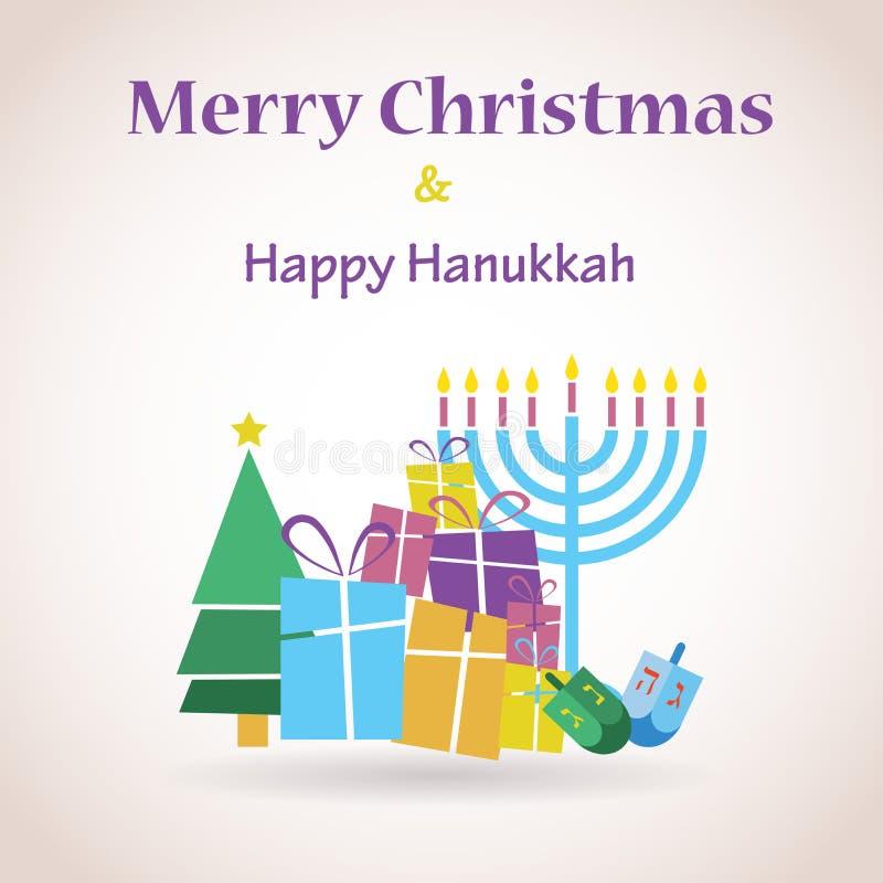 Gelukkige Chanoeka en vrolijke Kerstmis royalty-vrije illustratie