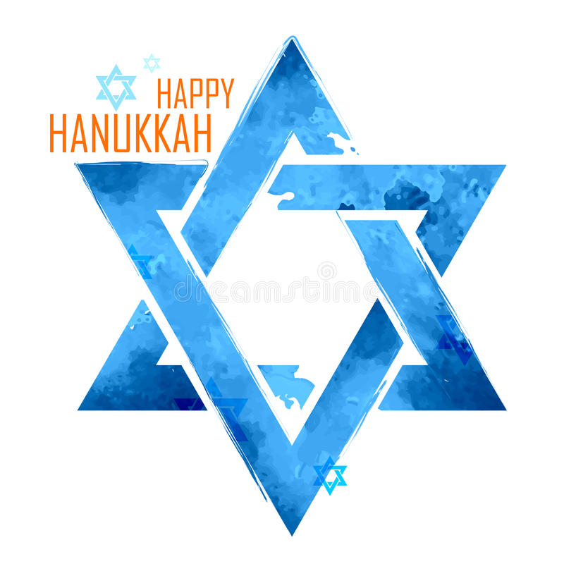 Gelukkige Chanoeka, Joodse vakantieachtergrond met het hangen van ster van David vector illustratie