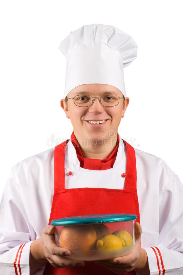 Gelukkige chef-kok stock foto's