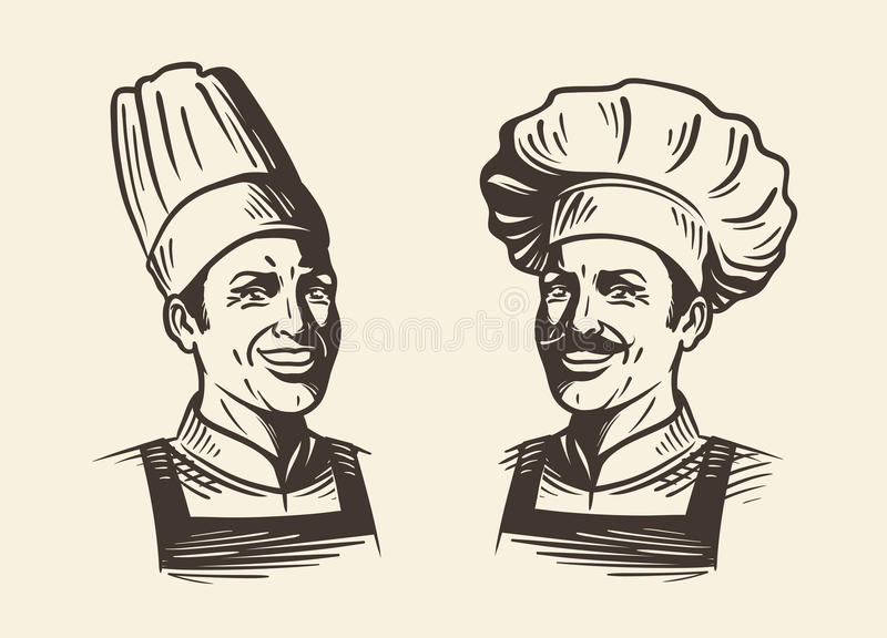 Gelukkige chef-kok in hoed Schets vectorillustratie vector illustratie