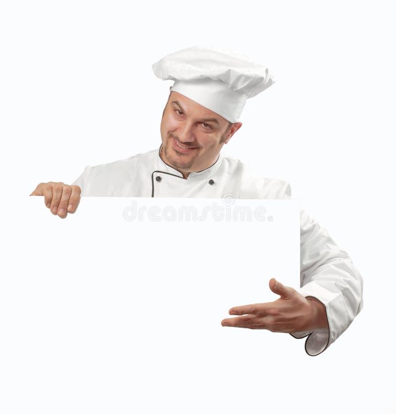 Gelukkige chef-kok op wit royalty-vrije stock afbeelding