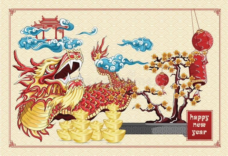 Gelukkige Chinese nieuwe de dans van de jaardraak en van het bloemen nieuwe jaar gouden barenillustratie op patroon het achtergro vector illustratie
