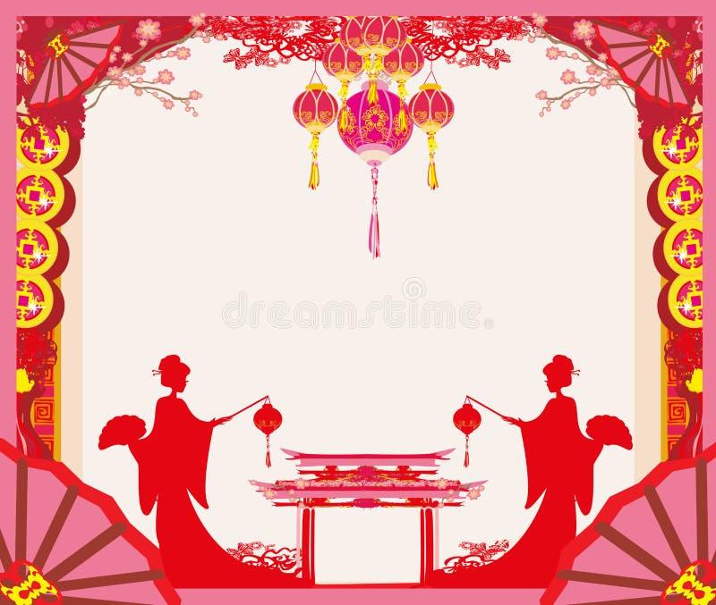 Gelukkige Chinese nieuwe jaarkaart Mooi Aziatisch meisje en abstract o vector illustratie