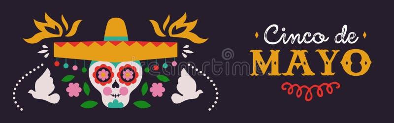 Gelukkige Cinco de Mayo-banner van mariachischedel stock illustratie