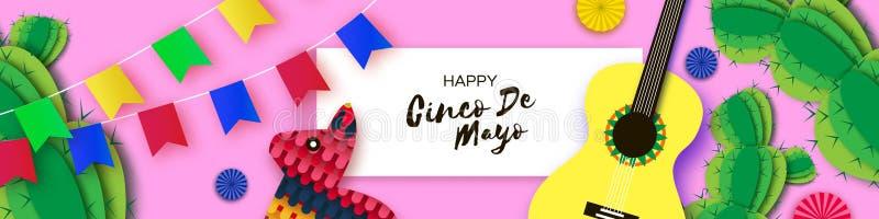 Gelukkige Cinco De Mayo-groetkaart Document Ventilator, Gitaar, Cactus in document besnoeiingsstijl De hoed van de origamisombrer stock illustratie