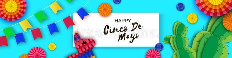 Gelukkige Cinco De Mayo-groetkaart Document Ventilator, Grappige Pinata, Cactus in document besnoeiingsstijl De hoed van de origa vector illustratie