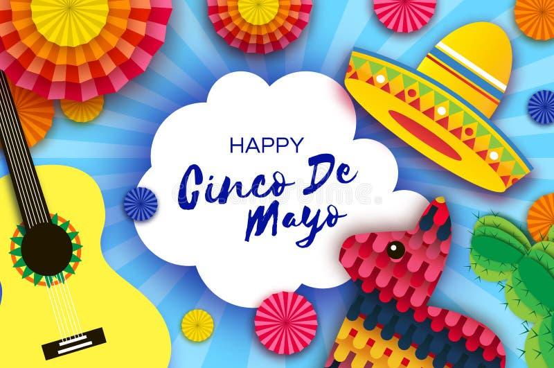 Gelukkige Cinco De Mayo-groetkaart Document de Ventilator, Grappige Pinata, Gitaar, Cactus in document sneed stijl De hoed van de stock illustratie