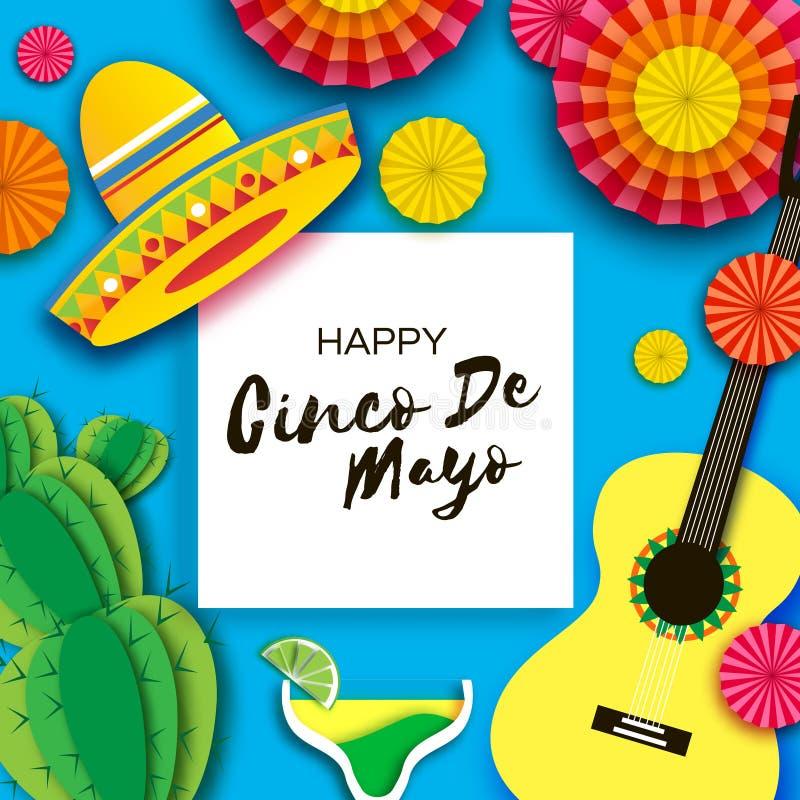 Gelukkige Cinco De Mayo-groetkaart Document de Ventilator, Grappige Pinata, Gitaar, Cactus in document sneed stijl Margarita Coct vector illustratie