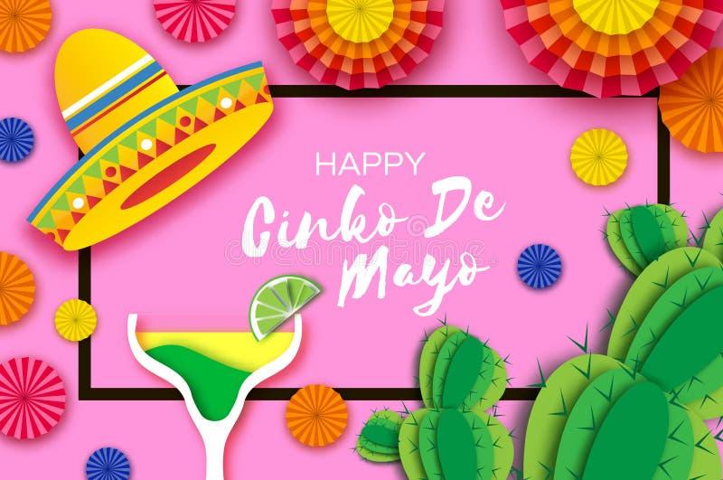Gelukkige Cinco De Mayo-groetkaart E Origami vector illustratie