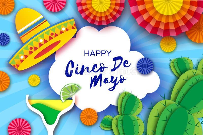 Gelukkige Cinco De Mayo-groetkaart E Origami royalty-vrije illustratie