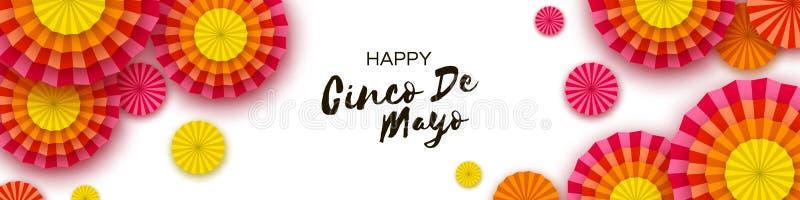 Gelukkige Cinco De Mayo-groetkaart Kleurrijke Document Ventilator Mexico, Carnaval vakantie banner royalty-vrije illustratie