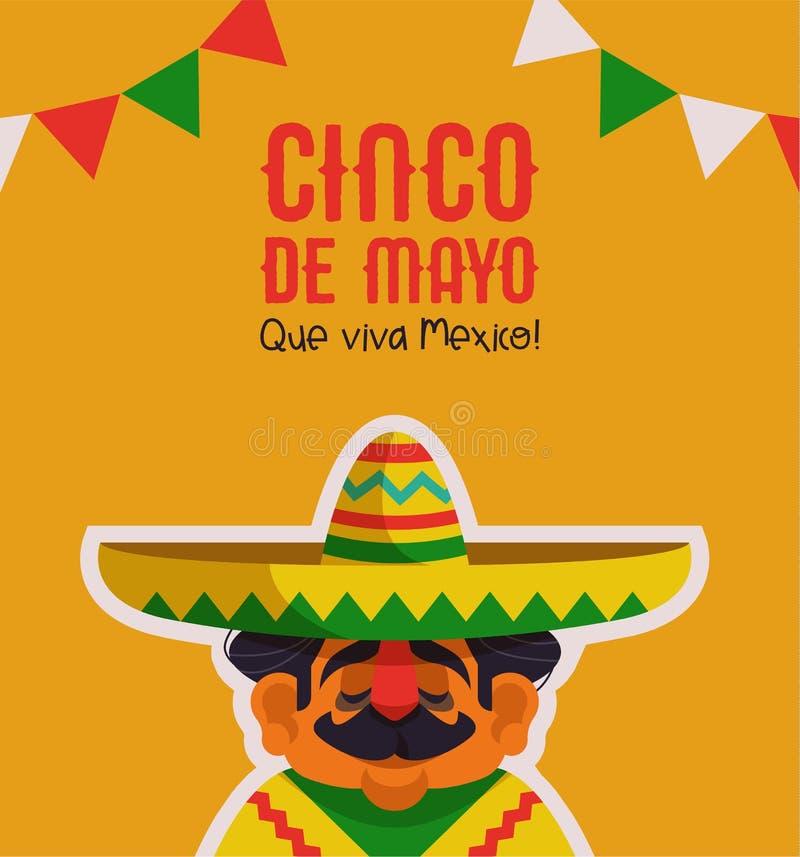 Gelukkige Cinco de Mayo-groetkaart van de mariachimens royalty-vrije illustratie