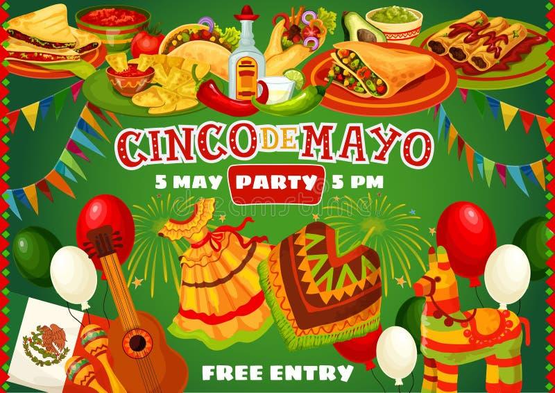 Gelukkige Cinco de Mayo Mexican-partijvoedsel en vlaggen royalty-vrije illustratie