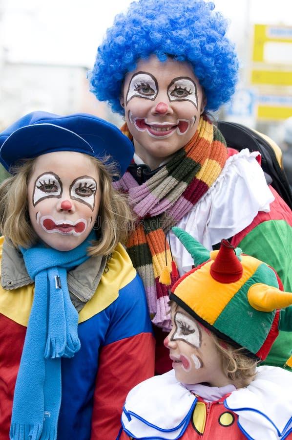 Gelukkige clowns stock foto's