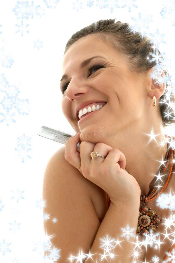 Gelukkige consument met sneeuwvlokken stock fotografie